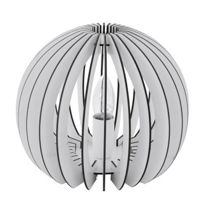 Eglo COSSANO 94949 Настольная лампаНастольные лампы в восточном стиле<br>Настольная лампа COSSANO, 1x60W (E27), ?260, H220, дерево, белый/пластик, белый применяется преимущественно в домашнем освещении с использованием стандартных выключателей и переключателей для сетей 220V.<br><br>Тип цоколя: E27<br>Цвет арматуры: белый<br>Количество ламп: 1<br>Диаметр, мм мм: 260<br>Высота, мм: 220<br>MAX мощность ламп, Вт: 60