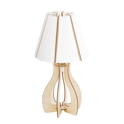 Eglo COSSANO 94951 Настольная лампаСовременные<br>Настольная лампа COSSANO, 1x60W (E27), ?255, H450, дерево, клен/пластик, белый применяется преимущественно в домашнем освещении с использованием стандартных выключателей и переключателей для сетей 220V.<br><br>Тип цоколя: E27<br>Количество ламп: 1<br>MAX мощность ламп, Вт: 60<br>Диаметр, мм мм: 255<br>Высота, мм: 450<br>Цвет арматуры: клен