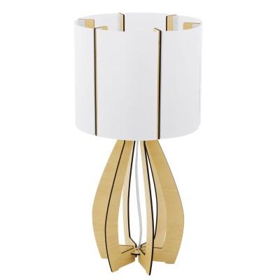 Eglo COSSANO 94952 Настольная лампаСовременные<br>Настольная лампа COSSANO, 1x60W (E27), ?225, H450, дерево, клен/пластик, белый применяется преимущественно в домашнем освещении с использованием стандартных выключателей и переключателей для сетей 220V.<br><br>Тип цоколя: E27<br>Цвет арматуры: коричневый<br>Количество ламп: 1<br>Диаметр, мм мм: 225<br>Высота, мм: 450<br>MAX мощность ламп, Вт: 60