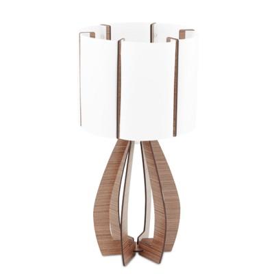 Eglo COSSANO 94955 Настольная лампаСовременные<br>Настольная лампа COSSANO, 1x60W (E27), ?225, H450, дерево, коричневый/пластик, белый применяется преимущественно в домашнем освещении с использованием стандартных выключателей и переключателей для сетей 220V.<br><br>Тип цоколя: E27<br>Количество ламп: 1<br>MAX мощность ламп, Вт: 60<br>Диаметр, мм мм: 225<br>Высота, мм: 450<br>Цвет арматуры: коричневый