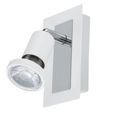 Eglo SARRIA 94958 Светодиодный спотОдиночные<br>Светодиодный спот SARRIA, 1x5W (GU10), L120, B60, сталь, белый, хром применяется преимущественно в домашнем освещении с использованием стандартных выключателей и переключателей для сетей 220V.<br><br>S освещ. до, м2: 2<br>Тип лампы: LED - светодиодная<br>Тип цоколя: GU10<br>Цвет арматуры: белый, хром<br>Количество ламп: 1<br>Ширина, мм: 60<br>Длина, мм: 120<br>MAX мощность ламп, Вт: 5
