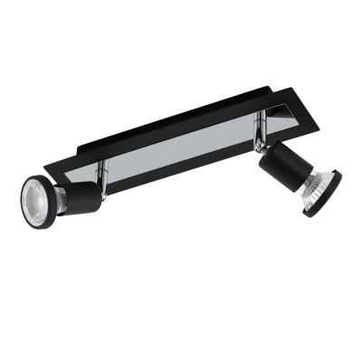 Eglo SARRIA 94964 Светодиодный спотдвойные светильники споты<br>Светодиодный спот SARRIA, 2x5W (GU10), L300, B70, сталь, черный, хром применяется преимущественно в домашнем освещении с использованием стандартных выключателей и переключателей для сетей 220V.<br><br>S освещ. до, м2: 4<br>Тип лампы: LED - светодиодная<br>Тип цоколя: GU10<br>Цвет арматуры: черный, хром<br>Количество ламп: 2<br>Ширина, мм: 70<br>Длина, мм: 300<br>MAX мощность ламп, Вт: 5
