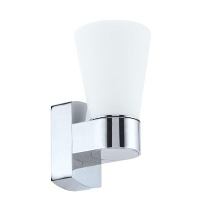 Eglo CAILIN 94988 Светильник для ванной комнатыДля ванной<br>Светодиодное бра СAILIN, 1x2,5W (G9), L90, H185, A115, IP44, литой алюминий, хром/сатиновое стекло, белый применяется преимущественно в домашнем освещении с использованием стандартных выключателей и переключателей для сетей 220V.<br><br>Тип лампы: LED - светодиодная<br>Тип цоколя: G9<br>Цвет арматуры: серебристый хром<br>Количество ламп: 1<br>Глубина, мм: 115<br>Длина, мм: 90<br>Высота, мм: 185<br>MAX мощность ламп, Вт: 3