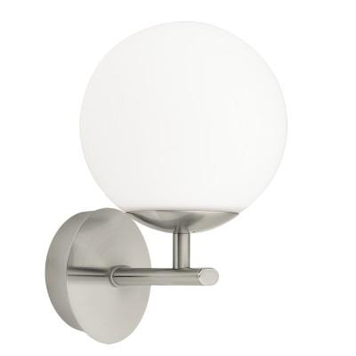 Светильник для ванной комнаты Eglo 94992 PALERMOбра для ванной<br>Светодиодное бра PALERMO, 1x2,5W (G9), L120, H205, A155, IP44, сталь, никель матовый/опаловое стекло, белый применяется преимущественно в домашнем освещении с использованием стандартных выключателей и переключателей для сетей 220V.