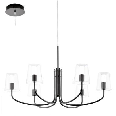 Eglo NOVENTA 95005 Светильник подвеснойПодвесные<br><br><br>Установка на натяжной потолок: Да<br>Крепление: Крюк<br>Тип товара: Светильник подвесной<br>Скидка, %: 24<br>Цветовая t, К: 3000 (теплый белый)<br>Тип лампы: LED<br>Тип цоколя: LED<br>Диаметр, мм мм: 730<br>Размеры основания, мм: 0<br>Высота, мм: 1500<br>Оттенок (цвет): прозрачный, белый<br>Цвет арматуры: серебристый<br>Общая мощность, Вт: 6X3,3W