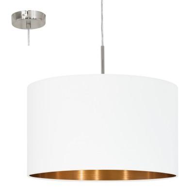 Eglo PASTERI 95044 Текстильный подвесодиночные подвесные светильники<br>Подвес PASTERI, 1х60W (E27), ?380, никель матовый/текстиль, белый, медный применяется преимущественно в домашнем освещении с использованием стандартных выключателей и переключателей для сетей 220V.<br><br>S освещ. до, м2: 3<br>Тип цоколя: E27<br>Цвет арматуры: серебристый никель<br>Количество ламп: 1<br>Диаметр, мм мм: 380<br>Высота, мм: 1100<br>MAX мощность ламп, Вт: 60