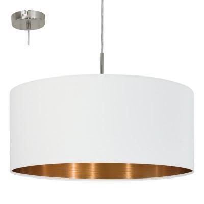 Eglo PASTERI 95045 Текстильный подвесодиночные подвесные светильники<br>Подвес PASTERI, 1х60W (E27), ?530, никель матовый/текстиль, белый, медный применяется преимущественно в домашнем освещении с использованием стандартных выключателей и переключателей для сетей 220V.<br><br>S освещ. до, м2: 3<br>Тип цоколя: E27<br>Цвет арматуры: серебристый никель<br>Количество ламп: 1<br>Диаметр, мм мм: 530<br>Высота, мм: 1100<br>MAX мощность ламп, Вт: 60