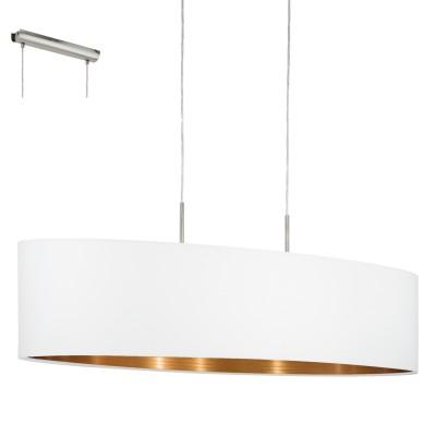 Eglo PASTERI 95047 Текстильный подвесдлинные подвесные светильники<br>Подвес PASTERI, 2х60W (E27), 1000х280, никель матовый/текстиль, белый, медный применяется преимущественно в домашнем освещении с использованием стандартных выключателей и переключателей для сетей 220V.<br><br>S освещ. до, м2: 6<br>Тип цоколя: E27<br>Цвет арматуры: серебристый<br>Количество ламп: 2<br>Ширина, мм: 280<br>Длина, мм: 1000<br>Высота, мм: 1100<br>MAX мощность ламп, Вт: 60