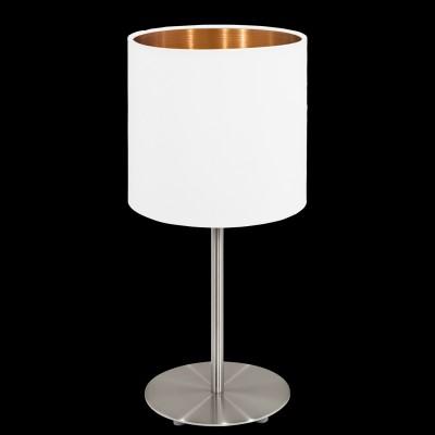 Eglo PASTERI 95048 Текстильный светильникСовременные<br>Настольная лампа PASTERI, 1х60W (E27), ?180, H400, никель матовый/текстиль, белый, медный применяется преимущественно в домашнем освещении с использованием стандартных выключателей и переключателей для сетей 220V.<br><br>Тип цоколя: E27<br>Количество ламп: 1<br>MAX мощность ламп, Вт: 60<br>Диаметр, мм мм: 180<br>Высота, мм: 400<br>Цвет арматуры: серебристый