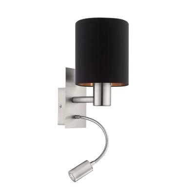 Eglo PASTERI 95049 Текстильный светильник браОжидается<br>Бра PASTERI со Светодиодный подсветкой для чтения, 1х40W (E27), 1х2,4W (LED), L150, H380, никель матовый/текстиль, черный, медный применяется преимущественно в домашнем освещении с использованием стандартных выключателей и переключателей для сетей 220V.<br><br>Цветовая t, К: 3000<br>Тип лампы: LED - светодиодная<br>Тип цоколя: E27<br>Количество ламп: 1<br>MAX мощность ламп, Вт: 40<br>Глубина, мм: 195<br>Длина, мм: 150<br>Высота, мм: 380<br>Цвет арматуры: никель матовый