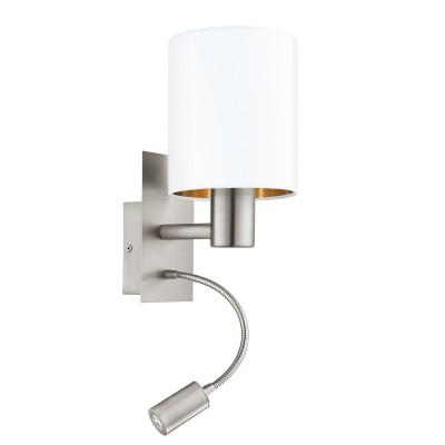 Eglo PASTERI 95051 Текстильный светильник браСовременные<br>Бра PASTERI со Светодиодный подсветкой для чтения, 1х40W (E27),1х2,4W (LED), L150, H380, никель матовый/текстиль, белый, медный  применяется преимущественно в домашнем освещении с использованием стандартных выключателей и переключателей для сетей 220V.<br><br>Цветовая t, К: 3000<br>Тип лампы: LED - светодиодная<br>Тип цоколя: E27<br>Количество ламп: 1<br>MAX мощность ламп, Вт: 40<br>Глубина, мм: 195<br>Длина, мм: 150<br>Высота, мм: 380<br>Цвет арматуры: серебристый никель