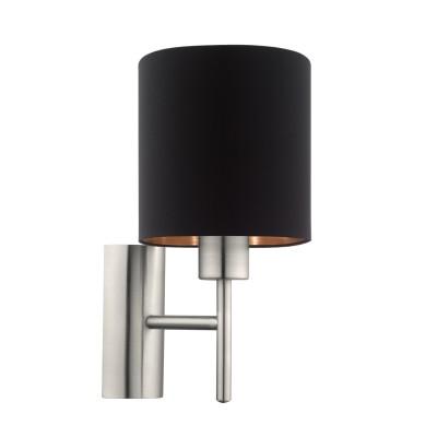Eglo PASTERI 95052 Текстильный светильник браСовременные<br>Бра PASTERI, 1х60W (E27), L145, H305, A195, никель матовый/текстиль, черный, медный  применяется преимущественно в домашнем освещении с использованием стандартных выключателей и переключателей для сетей 220V.<br><br>Тип цоколя: E27<br>Цвет арматуры: никель матовый<br>Количество ламп: 1<br>Глубина, мм: 195<br>Длина, мм: 145<br>Высота, мм: 305<br>MAX мощность ламп, Вт: 60