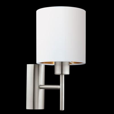 Eglo PASTERI 95053 Текстильный светильник брасовременные бра модерн<br>Бра PASTERI, 1х60W (E27), L145, H305, A195, никель матовый/текстиль, белый, медный  применяется преимущественно в домашнем освещении с использованием стандартных выключателей и переключателей для сетей 220V.<br><br>Тип цоколя: E27<br>Цвет арматуры: серебристый<br>Количество ламп: 1<br>Глубина, мм: 195<br>Длина, мм: 145<br>Высота, мм: 305<br>MAX мощность ламп, Вт: 60