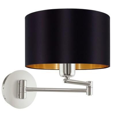 Eglo MASERLO 95054 Текстильный светильник брасветильники на штанге настенные<br>Бра MASERLO коленчатое, 1х60W (E27), ?230, H260, A595, никель матовый/текстиль, черный, золотой  применяется преимущественно в домашнем освещении с использованием стандартных выключателей и переключателей для сетей 220V.<br><br>Тип цоколя: E27<br>Цвет арматуры: серебристый<br>Количество ламп: 1<br>Диаметр, мм мм: 230<br>Глубина, мм: 595<br>Высота, мм: 260<br>MAX мощность ламп, Вт: 60