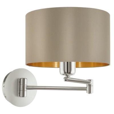 Eglo MASERLO 95055 Текстильный светильник браНа штанге<br>Бра MASERLO коленчатое, 1х60W (E27), ?230, H260, A595, никель матовый/текстиль, серо-коричневый, золотой  применяется преимущественно в домашнем освещении с использованием стандартных выключателей и переключателей для сетей 220V.<br><br>Тип цоколя: E27<br>Количество ламп: 1<br>MAX мощность ламп, Вт: 60<br>Диаметр, мм мм: 230<br>Глубина, мм: 595<br>Высота, мм: 260<br>Цвет арматуры: серебристый