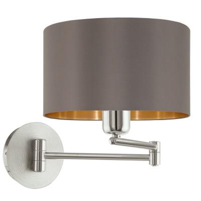Eglo MASERLO 95056 Текстильный светильник браНа штанге<br>Бра MASERLO коленчатое, 1х60W (E27), ?230, H260, A595, никель матовый/текстиль, каппучино, золотой  применяется преимущественно в домашнем освещении с использованием стандартных выключателей и переключателей для сетей 220V.<br><br>Тип цоколя: E27<br>Количество ламп: 1<br>MAX мощность ламп, Вт: 60<br>Диаметр, мм мм: 230<br>Глубина, мм: 595<br>Высота, мм: 260<br>Цвет арматуры: серебристый