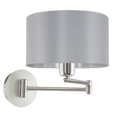 Eglo MASERLO 95057 Текстильный светильник браСовременные<br>Бра MASERLO коленчатое, 1х60W (E27), ?230, H260, A595, никель матовый/текстиль, серый, серебряный применяется преимущественно в домашнем освещении с использованием стандартных выключателей и переключателей для сетей 220V.<br><br>Тип цоколя: E27<br>Количество ламп: 1<br>MAX мощность ламп, Вт: 60<br>Диаметр, мм мм: 230<br>Глубина, мм: 595<br>Высота, мм: 260<br>Цвет арматуры: серебристый никель