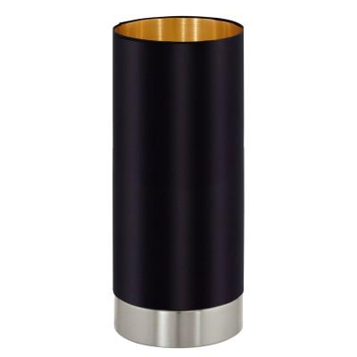Eglo MASERLO 95117 Текстильный светильникСовременные<br>Настольная лампа MASERLO с сенсорн. димм., 1х40W (E27), ?120, H255, никель матовый/текстиль, черный, золотой  применяется преимущественно в домашнем освещении с использованием стандартных выключателей и переключателей для сетей 220V.<br><br>Тип цоколя: E27<br>Цвет арматуры: серебристый<br>Количество ламп: 1<br>Диаметр, мм мм: 120<br>Высота, мм: 255<br>MAX мощность ламп, Вт: 40