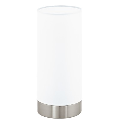 Eglo PASTERI 95118 Текстильный светильникСовременные<br>Настольная лампа PASTERI с сенсорн. димм., 1х40W (E27), ?120, H255, никель матовый/текстиль, белый применяется преимущественно в домашнем освещении с использованием стандартных выключателей и переключателей для сетей 220V.<br><br>Тип цоколя: E27<br>Количество ламп: 1<br>MAX мощность ламп, Вт: 40<br>Диаметр, мм мм: 120<br>Высота, мм: 255<br>Цвет арматуры: серебристый