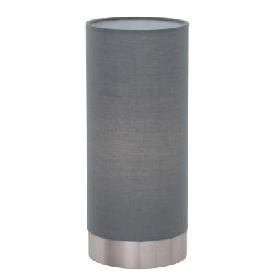 Eglo PASTERI 95119 Текстильный светильникСовременные<br>Настольная лампа PASTERI с сенсорн. димм., 1х40W (E27), ?120, H255, никель матовый/текстиль, серый применяется преимущественно в домашнем освещении с использованием стандартных выключателей и переключателей для сетей 220V.<br><br>Тип цоколя: E27<br>Количество ламп: 1<br>MAX мощность ламп, Вт: 40<br>Диаметр, мм мм: 120<br>Высота, мм: 255<br>Цвет арматуры: серебристый