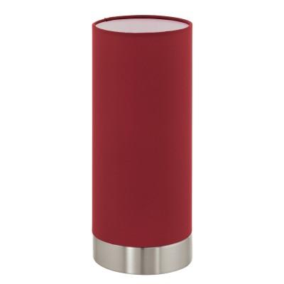 Eglo PASTERI 95121 Текстильный светильникСовременные<br>Настольная лампа PASTERI с сенсорн. димм., 1х40W (E27), ?120, H255, никель матовый/текстиль, марсала применяется преимущественно в домашнем освещении с использованием стандартных выключателей и переключателей для сетей 220V.<br><br>Тип цоколя: E27<br>Количество ламп: 1<br>MAX мощность ламп, Вт: 40<br>Диаметр, мм мм: 120<br>Высота, мм: 255<br>Цвет арматуры: серебристый никель