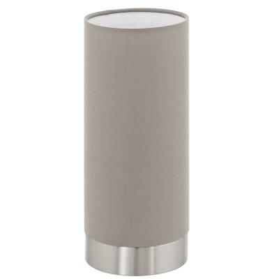 Eglo PASTERI 95122 Текстильный светильникСовременные<br>Настольная лампа PASTERI с сенсорн. димм., 1х40W (E27), ?120, H255, никель матовый/текстиль, серо-коричневый применяется преимущественно в домашнем освещении с использованием стандартных выключателей и переключателей для сетей 220V.<br><br>Тип цоколя: E27<br>Количество ламп: 1<br>MAX мощность ламп, Вт: 40<br>Диаметр, мм мм: 120<br>Высота, мм: 255<br>Цвет арматуры: серебристый