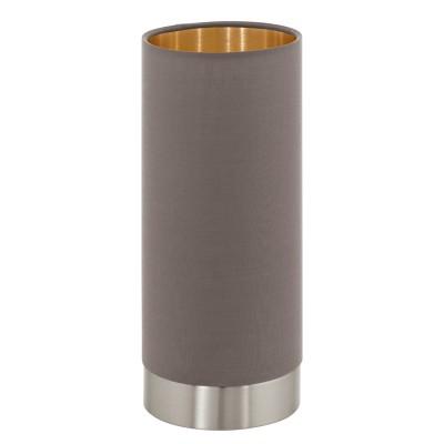 Eglo MASERLO 95123 Текстильный светильникСовременные<br>Настольная лампа MASERLO с сенсорн. димм., 1х40W (E27), ?120, H255, никель матовый/текстиль, каппучино, золотой  применяется преимущественно в домашнем освещении с использованием стандартных выключателей и переключателей для сетей 220V.<br><br>Тип цоколя: E27<br>Количество ламп: 1<br>MAX мощность ламп, Вт: 40<br>Диаметр, мм мм: 120<br>Высота, мм: 255<br>Цвет арматуры: серебристый
