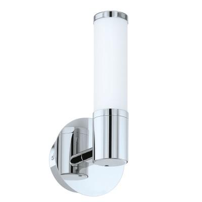 Eglo PALMERA 1 95141 Светильник для ванной комнатыДля ванной<br>Светодиодное бра PALMERA 1, 1x4,5W (LED), H270, IP44, cталь, хром/опаловое стекло применяется преимущественно в домашнем освещении с использованием стандартных выключателей и переключателей для сетей 220V.<br><br>Цветовая t, К: 3000<br>Тип лампы: LED - светодиодная<br>Тип цоколя: LED<br>Количество ламп: 1<br>MAX мощность ламп, Вт: 5<br>Глубина, мм: 115<br>Длина, мм: 125<br>Высота, мм: 270<br>Цвет арматуры: серебристый хром