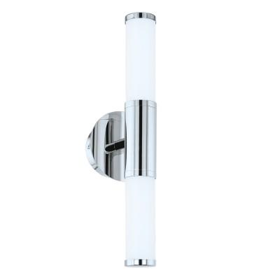 Eglo PALMERA 1 95142 Светильник для ванной комнатыДля ванной<br>Светодиодное бра PALMERA 1, 2x4,5W (LED), L435, H125, IP44, сталь, хром/опаловое стекло применяется преимущественно в домашнем освещении с использованием стандартных выключателей и переключателей для сетей 220V.<br><br>Цветовая t, К: 3000<br>Тип лампы: LED - светодиодная<br>Тип цоколя: LED<br>Цвет арматуры: серебристый хром<br>Количество ламп: 2<br>Глубина, мм: 125<br>Длина, мм: 435<br>Высота, мм: 125<br>MAX мощность ламп, Вт: 5