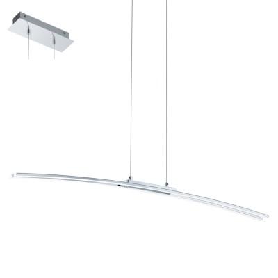 Eglo LASANA 95147 Подвесной светильникСветодиодные<br>Светодиодный подвес LASANA, 30W (LED), L900, cталь, хром/пластик, белый применяется преимущественно в домашнем освещении с использованием стандартных выключателей и переключателей для сетей 220V.<br><br>S освещ. до, м2: 12<br>Цветовая t, К: 3000<br>Тип лампы: LED - светодиодная<br>Тип цоколя: LED<br>Количество ламп: 1<br>MAX мощность ламп, Вт: 30<br>Длина, мм: 900<br>Высота, мм: 1100<br>Цвет арматуры: серебристый хром