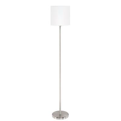 Eglo PASTERI 95164 Торшер напольныйСовременные<br>Торшер PASTERI, 1х60W (E27), ?280, H1575, никель матовый/текстиль, белый применяется преимущественно в домашнем освещении с использованием стандартных выключателей и переключателей для сетей 220V.<br><br>Тип цоколя: E27<br>Количество ламп: 1<br>MAX мощность ламп, Вт: 60<br>Диаметр, мм мм: 280<br>Высота, мм: 1575<br>Цвет арматуры: серебристый