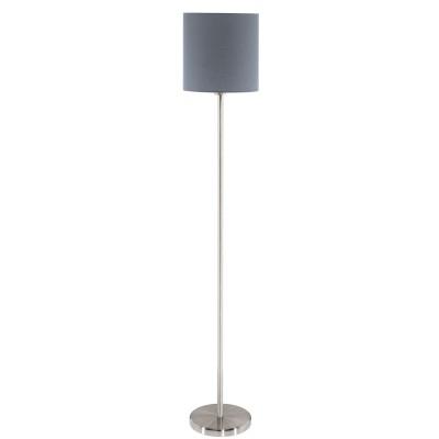 Eglo PASTERI 95166 Торшер напольныйСовременные<br>Торшер PASTERI, 1х60W (E27), ?280, H1575, никель матовый/текстиль, серый применяется преимущественно в домашнем освещении с использованием стандартных выключателей и переключателей для сетей 220V.<br><br>Тип цоколя: E27<br>Цвет арматуры: серебристый<br>Количество ламп: 1<br>Диаметр, мм мм: 280<br>Высота, мм: 1575<br>MAX мощность ламп, Вт: 60