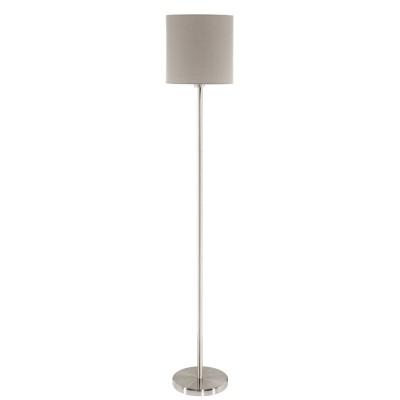 Eglo PASTERI 95167 Торшер напольныйСовременные<br>Торшер PASTERI, 1х60W (E27), ?280, H1575, никель матовый/текстиль, серо-коричневый применяется преимущественно в домашнем освещении с использованием стандартных выключателей и переключателей для сетей 220V.<br><br>Тип цоколя: E27<br>Количество ламп: 1<br>MAX мощность ламп, Вт: 60<br>Диаметр, мм мм: 280<br>Высота, мм: 1575<br>Цвет арматуры: серебристый