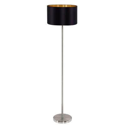 Eglo MASERLO 95169 Торшер напольныйСовременные<br>Торшер MASERLO с ножн.выкл., 1х60W (E27), ?380, H1510, никель матовый/текстиль, черный, золотой  применяется преимущественно в домашнем освещении с использованием стандартных выключателей и переключателей для сетей 220V.<br><br>Тип цоколя: E27<br>Цвет арматуры: серебристый<br>Количество ламп: 1<br>Диаметр, мм мм: 380<br>Высота, мм: 1510<br>MAX мощность ламп, Вт: 60