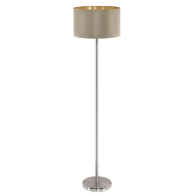 Eglo MASERLO 95171 Торшер напольныйСовременные<br>Торшер MASERLO с ножн. выкл., 1х60W (E27), ?380, H1510, никель матовый/текстиль, серо-коричневый, золотой  применяется преимущественно в домашнем освещении с использованием стандартных выключателей и переключателей для сетей 220V.<br><br>Тип цоколя: E27<br>Количество ламп: 1<br>MAX мощность ламп, Вт: 60<br>Диаметр, мм мм: 380<br>Высота, мм: 1510<br>Цвет арматуры: серебристый