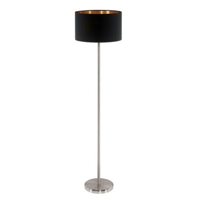 Eglo PASTERI 95175 Торшер напольныйСовременные<br>Торшер PASTERI, 1х60W (E27), ?380, H1510, никель матовый/текстиль, черный, медный  применяется преимущественно в домашнем освещении с использованием стандартных выключателей и переключателей для сетей 220V.<br><br>Тип цоколя: E27<br>Цвет арматуры: серебристый<br>Количество ламп: 1<br>Диаметр, мм мм: 380<br>Высота, мм: 1510<br>MAX мощность ламп, Вт: 60