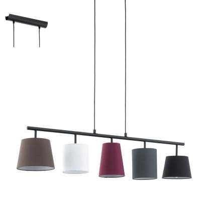 Eglo ALMEIDA 95191 Подвесной светильникДлинные 4+<br>Подвес ALMEIDA, 5х40W (E14), L1050, B200, сталь, черный/текстиль, разноцветный применяется преимущественно в домашнем освещении с использованием стандартных выключателей и переключателей для сетей 220V.<br><br>S освещ. до, м2: 10<br>Тип цоколя: E14<br>Количество ламп: 5<br>Ширина, мм: 200<br>MAX мощность ламп, Вт: 40<br>Длина, мм: 1050<br>Высота, мм: 1100<br>Цвет арматуры: черный