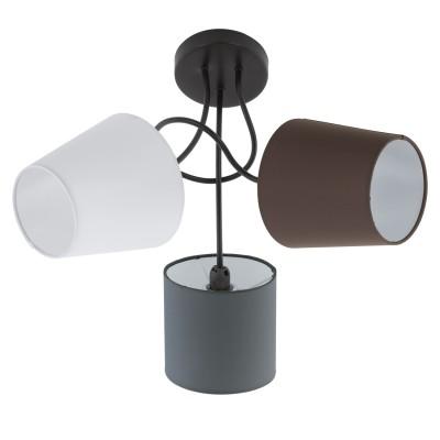 Eglo ALMEIDA 95192 Настенно-потолочный светильникПотолочные<br>Потолочный светильник ALMEIDA, 3х40W (E14), ?590, сталь, черный/текстиль, антрацит, белый, коричневый применяется преимущественно в домашнем освещении с использованием стандартных выключателей и переключателей для сетей 220V.<br><br>Установка на натяжной потолок: Да<br>S освещ. до, м2: 6<br>Тип цоколя: E14<br>Цвет арматуры: черный<br>Количество ламп: 3<br>Диаметр, мм мм: 590<br>Высота, мм: 350<br>MAX мощность ламп, Вт: 40
