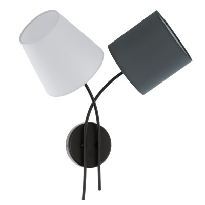 Eglo ALMEIDA 95193 Настенно-потолочный светильникСовременные<br>Бра ALMEIDA, 2х40W (E14), L420, H455, сталь, черный/текстиль, белый, антрацит применяется преимущественно в домашнем освещении с использованием стандартных выключателей и переключателей для сетей 220V.<br><br>Тип цоколя: E14<br>Количество ламп: 2<br>MAX мощность ламп, Вт: 40<br>Глубина, мм: 190<br>Длина, мм: 420<br>Высота, мм: 455<br>Цвет арматуры: черный