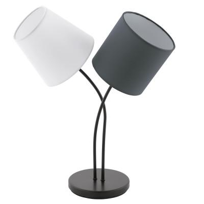 Eglo ALMEIDA 95194 Настольная лампаСовременные настольные лампы модерн<br>Настольная лампа ALMEIDA, 2х40W (E14), L380, H475, сталь, черный/текстиль, белый, антрацит применяется преимущественно в домашнем освещении с использованием стандартных выключателей и переключателей для сетей 220V.<br><br>Тип цоколя: E14<br>Цвет арматуры: черный<br>Количество ламп: 2<br>Ширина, мм: 185<br>Длина, мм: 380<br>Высота, мм: 475<br>MAX мощность ламп, Вт: 40