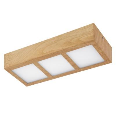Eglo COLEGIO 95197 накладные светильникиПрямоугольные<br>Светодиодный накладной светильник СOLEGIO, 3x4,2W (LED), 315x115, сталь, дуб/пластик, белый применяется преимущественно в домашнем освещении с использованием стандартных выключателей и переключателей для сетей 220V.<br><br>S освещ. до, м2: 5<br>Цветовая t, К: 3000<br>Тип лампы: LED - светодиодная<br>Тип цоколя: LED<br>Количество ламп: 3<br>Ширина, мм: 115<br>MAX мощность ламп, Вт: 4<br>Длина, мм: 315<br>Высота, мм: 60<br>Цвет арматуры: деревянный