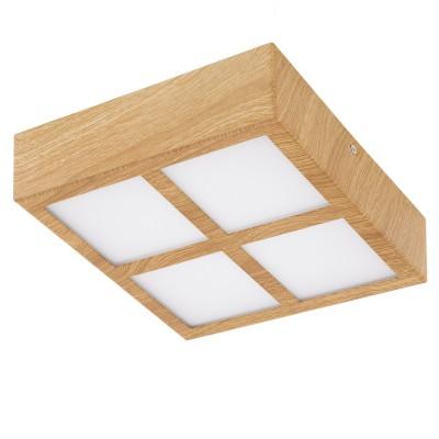 Eglo COLEGIO 95198 накладные светильникиКвадратные<br>Светодиодный накладной светильник СOLEGIO, 4x4,2W (LED), 215x215, сталь, дуб/пластик, белый применяется преимущественно в домашнем освещении с использованием стандартных выключателей и переключателей для сетей 220V.<br><br>S освещ. до, м2: 6<br>Цветовая t, К: 3000<br>Тип лампы: LED - светодиодная<br>Тип цоколя: LED<br>Цвет арматуры: деревянный<br>Количество ламп: 4<br>Ширина, мм: 215<br>Длина, мм: 215<br>Высота, мм: 60<br>MAX мощность ламп, Вт: 4