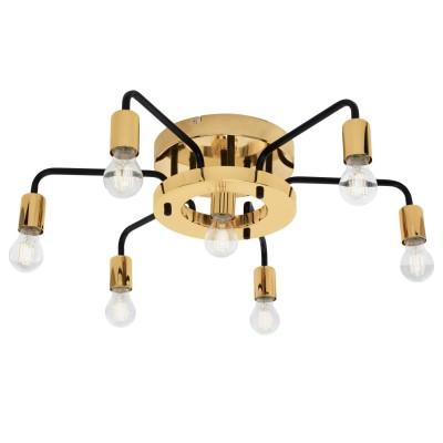 Eglo PALTAS 95215 Настенно-потолочный светильникПотолочные<br>Потолочный светильник PALTAS, 7x60W (E27), ?700, H175, сталь, черный, золотой применяется преимущественно в домашнем освещении с использованием стандартных выключателей и переключателей для сетей 220V.<br><br>Установка на натяжной потолок: Ограничено<br>S освещ. до, м2: 21<br>Крепление: Планка<br>Тип товара: Настенно-потолочный светильник<br>Тип цоколя: E27<br>Количество ламп: 7<br>MAX мощность ламп, Вт: 60<br>Диаметр, мм мм: 700<br>Высота, мм: 175<br>Цвет арматуры: Золотой