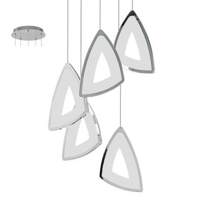 Eglo AMONDE 95219 Подвесной светильникПодвесные<br>Cветодиодный подвес AMONDE диммир., 5x6W (LED), ?320, H1500, литой алюминий, хром/пластик, матовый применяется преимущественно в домашнем освещении с использованием стандартных выключателей и переключателей для сетей 220V.<br><br>Установка на натяжной потолок: Да<br>S освещ. до, м2: 12<br>Цветовая t, К: 3000<br>Тип лампы: LED - светодиодная<br>Тип цоколя: LED<br>Цвет арматуры: серебристый<br>Количество ламп: 5<br>Диаметр, мм мм: 320<br>Высота, мм: 1500<br>MAX мощность ламп, Вт: 6