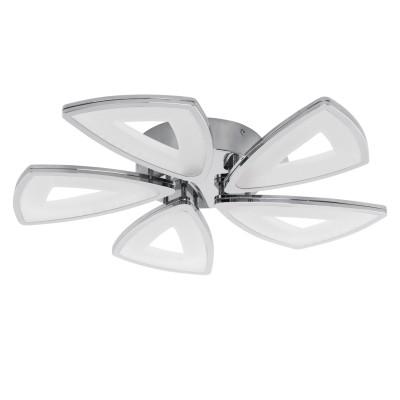 Eglo AMONDE 95221 Настенно-потолочный светильникКруглые<br>Cветодиодный потол. светильник AMONDE диммир., 5x6W (LED), ?560, литой алюминий, хром/пластик, матовый применяется преимущественно в домашнем освещении с использованием стандартных выключателей и переключателей для сетей 220V.<br><br>S освещ. до, м2: 12<br>Цветовая t, К: 3000<br>Тип лампы: LED - светодиодная<br>Тип цоколя: LED<br>Количество ламп: 5<br>MAX мощность ламп, Вт: 6<br>Диаметр, мм мм: 560<br>Высота, мм: 70<br>Цвет арматуры: серебристый