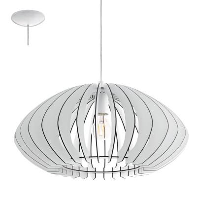Eglo COSSANO 2 95254 Подвесной светильникОдиночные<br>Подвес COSSANO 2, 1x60W (E27), ?500, H1500, сталь, белый/дерево, белый применяется преимущественно в домашнем освещении с использованием стандартных выключателей и переключателей для сетей 220V.<br><br>S освещ. до, м2: 3<br>Тип цоколя: E27<br>Цвет арматуры: белый<br>Количество ламп: 1<br>Диаметр, мм мм: 500<br>Высота, мм: 1100<br>MAX мощность ламп, Вт: 60