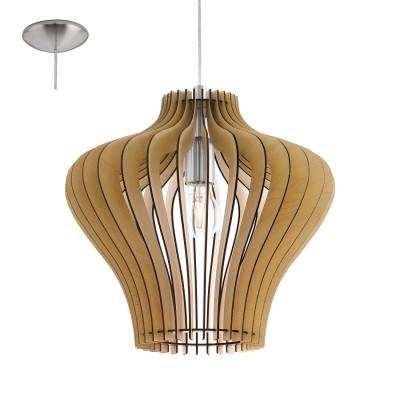Eglo COSSANO 2 95256 Подвесной светильникОдиночные<br>Подвес COSSANO 2, 1x60W (E27), ?380, H1500, сталь, никель матовый/дерево, клен применяется преимущественно в домашнем освещении с использованием стандартных выключателей и переключателей для сетей 220V.<br><br>S освещ. до, м2: 3<br>Тип цоколя: E27<br>Количество ламп: 1<br>MAX мощность ламп, Вт: 60<br>Диаметр, мм мм: 380<br>Высота, мм: 1100<br>Цвет арматуры: серебристый никель