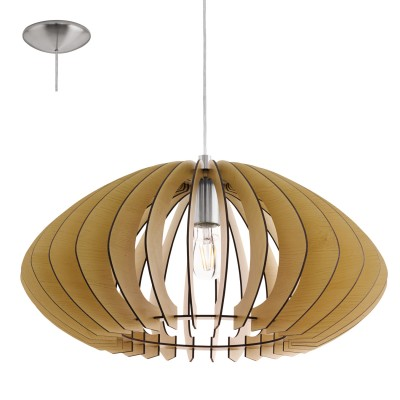 Eglo COSSANO 2 95257 Подвесной светильникОдиночные<br>Подвес COSSANO 2, 1x60W (E27), ?500, H1500, сталь, никель матовый/дерево, клен применяется преимущественно в домашнем освещении с использованием стандартных выключателей и переключателей для сетей 220V.<br><br>Тип лампы: Накаливания / энергосбережения / светодиодная<br>Тип цоколя: E27<br>Количество ламп: 1<br>MAX мощность ламп, Вт: 60<br>Диаметр, мм мм: 500<br>Высота, мм: 1100<br>Цвет арматуры: серебристый никель