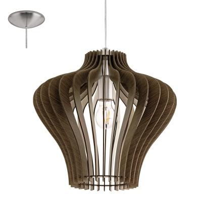 Eglo COSSANO 2 95259 Подвесной светильникОдиночные<br>Подвес COSSANO 2, 1x60W (E27), ?380, H1500, сталь, никель матовый/дерево, темно-коричневый применяется преимущественно в домашнем освещении с использованием стандартных выключателей и переключателей для сетей 220V.<br><br>S освещ. до, м2: 3<br>Тип цоколя: E27<br>Количество ламп: 1<br>MAX мощность ламп, Вт: 60<br>Диаметр, мм мм: 380<br>Высота, мм: 1100<br>Цвет арматуры: серебристый