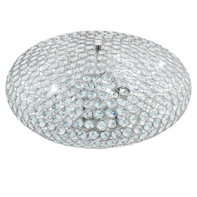 Eglo CLEMENTE 95285 Настенно-потолочный светильникПотолочные<br>Потолочный светильник CLEMENTE, 3х60W (E27), ?450, cталь, хром/хрусталь, прозрачный применяется преимущественно в домашнем освещении с использованием стандартных выключателей и переключателей для сетей 220V.<br><br>S освещ. до, м2: 9<br>Тип товара: Настенно-потолочный светильник<br>Тип цоколя: E27<br>Количество ламп: 3<br>MAX мощность ламп, Вт: 60<br>Диаметр, мм мм: 450<br>Высота, мм: 205<br>Цвет арматуры: серебристый